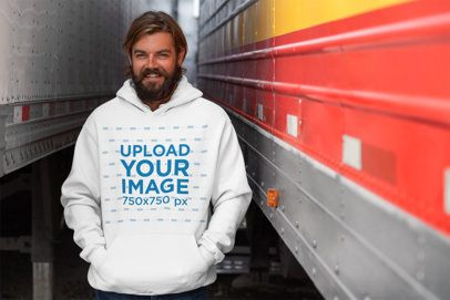 Hoodie Pullover Mockup Featuring a Smiling Truck Driver 29484