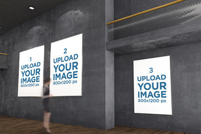 Mockup of Three Exhibition Posters at a Minimalistic Gallery 322-el