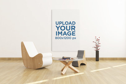 Mockup Featuring an Art Print Hanging at a Lounge Room 324-el
