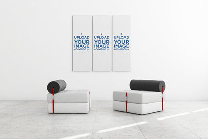 Minimal Mockup Featuring Three Art Prints Hanging Behind Two Modern Couches 326-el