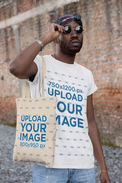 T-Shirt Mockup of a Cool Man with Sunglasses Carrying a Tote Bag 29436