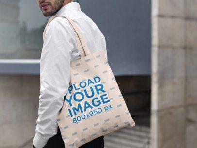 Tote Bag Mockup Featuring a Bearded Man in an Urban Scenario 29430