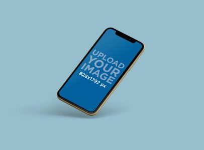 Mockup Featuring an iPhone 11 in Portrait Position Floating Against a Customizable Backdrop 235-el