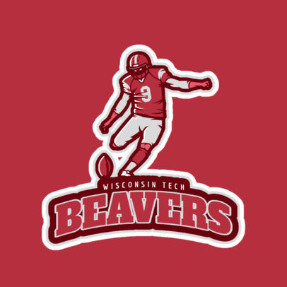 Sports Logo Maker with a Football Player Clipart 2556a