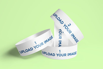 Mockup of a Bunch of Paper Wristbands