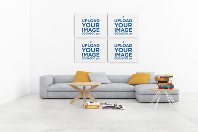 Mockup Featuring Four Art Prints Hanging on a Modern Living Room's Wall 328-el