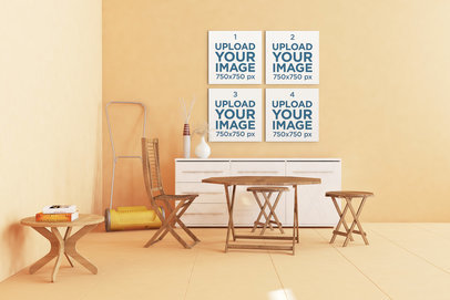 Mockup of a Set of Four Art Prints in a Neat Orange Apartment 329-el
