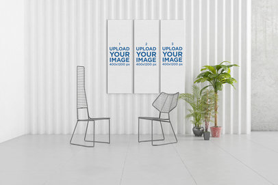 Mockup of a Three-Piece Art Print Set in a Modern Home 330-el