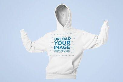 Mockup of a Ghosted Hoodie with Arms Up 29362
