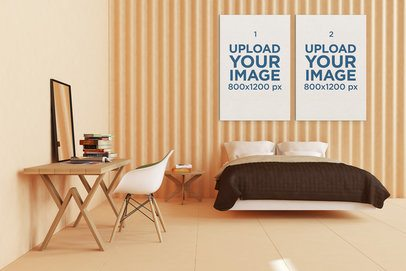 Mockup Featuring Two Art Prints Hanging on a Minimalist Bedroom's Wall 331-el