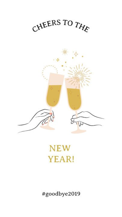 New Year's Instagram Story Maker Featuring Clinking Glasses Clipart 1044b
