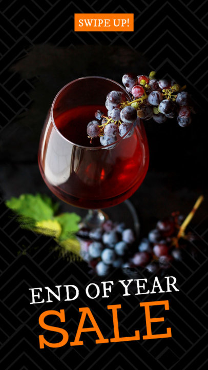 End of Year Sale Instagram Story Maker with a Glass of Wine Picture 593s-1828
