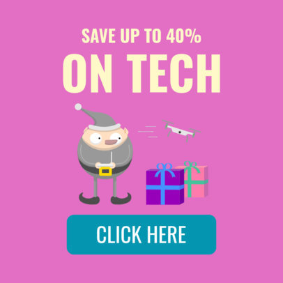 Ad Banner Maker for a Christmas Promo Featuring an Elf Illustration 1838b