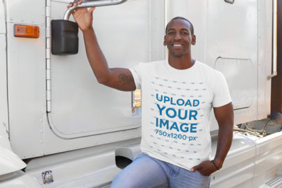 Mockup of a Truck Driver Wearing a T-Shirt 29465