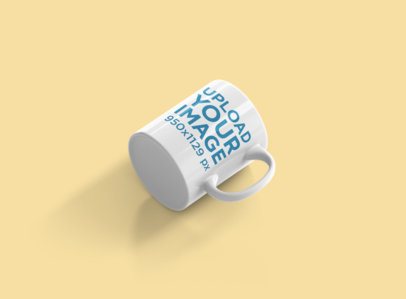 Mockup of an 11 oz Coffee Mug Lying on Its Side at a Colored Background 691-el