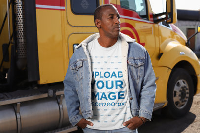 T-Shirt Mockup of a Man Posing in Front of His Truck 29467