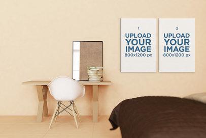 Mockup of Two Art Prints Displayed on a Minimalist Bedroom Wall 332-el