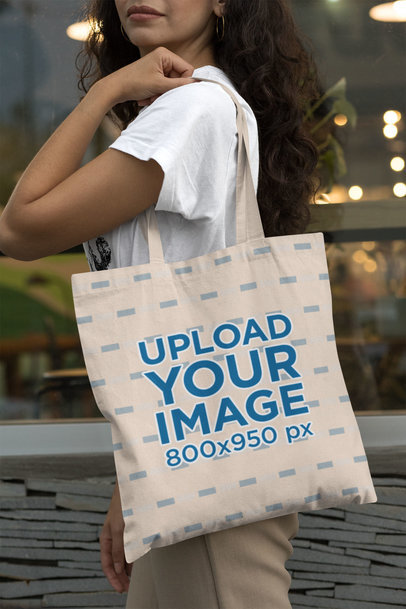 Mockup of a Long-Haired Woman with a Tote Bag 29455