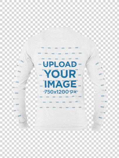 Ghosted Mockup of a Heather Long Sleeve Tee of a Man on a Plain Background 29392