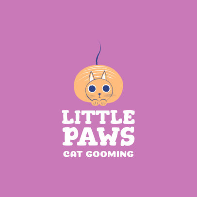 Pet Grooming Logo Maker Featuring a Fluffy Cat 2582d