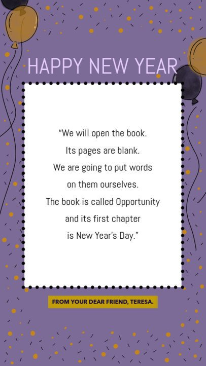 Instagram Story Template with a New Year's Emotional Message 580l 1855