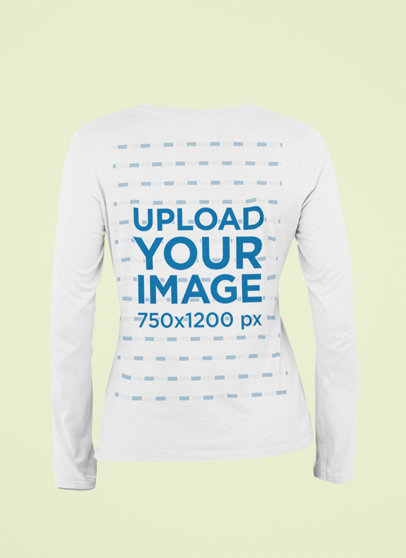 Ghosted Mockup of the Back of a Long Sleeve Tee 29398