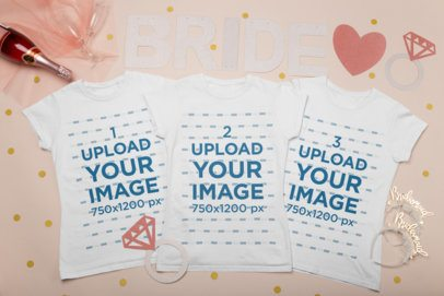 Mockup of Three Crewneck T-Shirts for a Bride Squad 29561