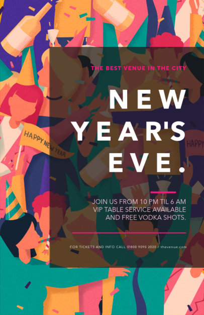Online Flyer Maker Featuring a New Year's Party Illustration 275h-1863