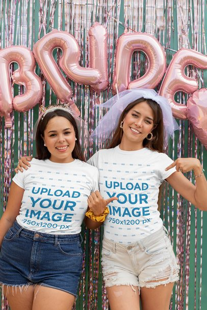 T-Shirt Mockup of Two Girlfriends at a Bachelorette Party 29666
