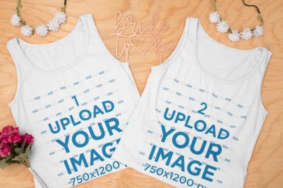 Mockup of Two Tank Tops for a Bachelorette Weekend Party 29565
