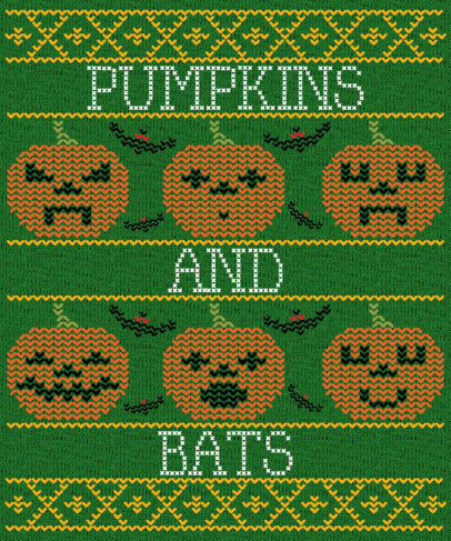 Ugly Sweater T-Shirt Design Template with a Halloween Theme 1851