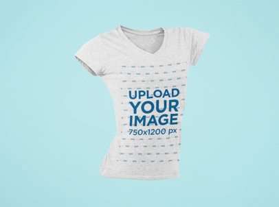 Ghosted Mockup of a Heathered V-Neck T-Shirt For a Woman Floating 29389