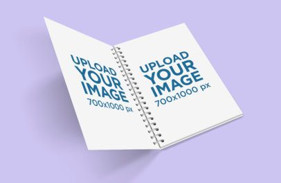 Mockup Featuring an Open Spiral Notebook Against a Plain Background 468-el