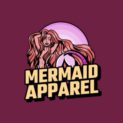 Beach Apparel Brand Logo Maker Featuring a Mermaid 2592a