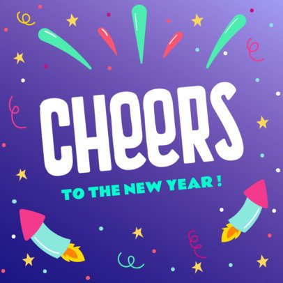 Colorful Instagram Post Template for a Happy New Year's Message 636f-1857