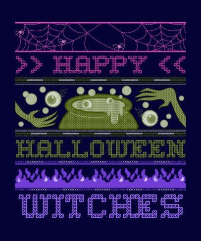 Ugly Halloween T-Shirt Design Template Featuring a Witch Pot 1854e