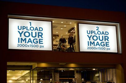 Mockup of Two Billboards Displayed on a Department Store 359-el