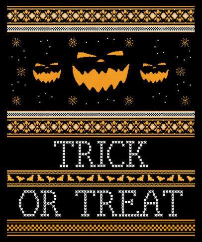 T-Shirt Design Maker for an Ugly Halloween Sweater Featuring Spooky Pumpkins 1853d