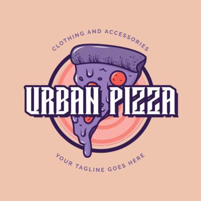 Santa Cruz Inspired Logo Template Featuring a Pizza Illustration 2591b