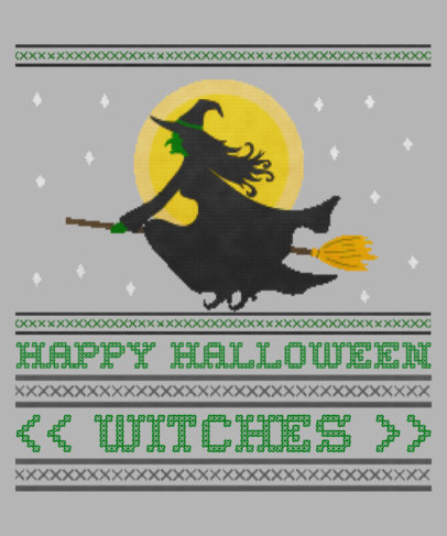 Halloween T-Shirt Design Template for an Ugly Sweater Featuring a Witch Clipart 1853f