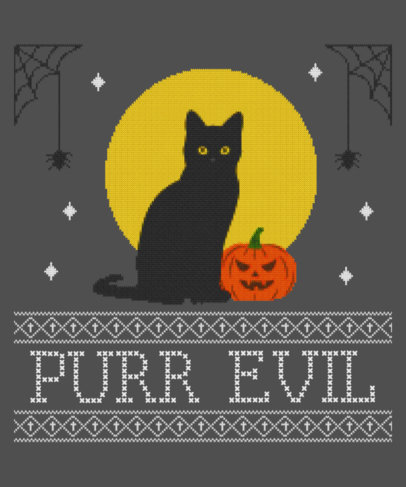 Ugly Halloween Sweater Template Featuring a Black Cat Clipart 1853h