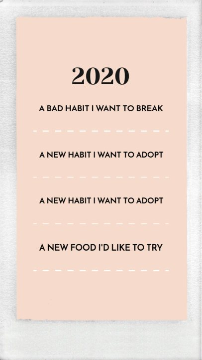 Instagram Story Template to Write Your Goals for the Upcoming Year 1856c