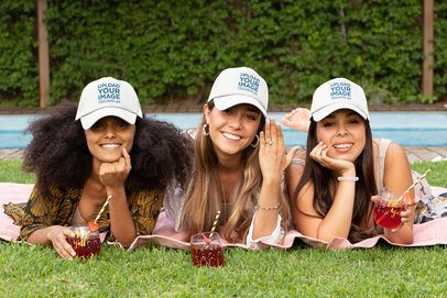 Trucket Hat Mockup Featuring Three Friends at a Bachelorette Party 29696