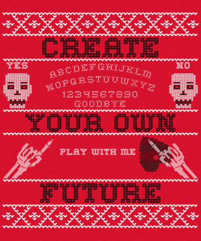 Ugly Sweater-Styled T-Shirt Design Creator with Funny Skeletons 1851c