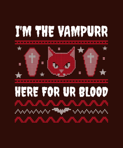 Ugly Sweater T-Shirt Template Featuring a Vampire Cat 1852b