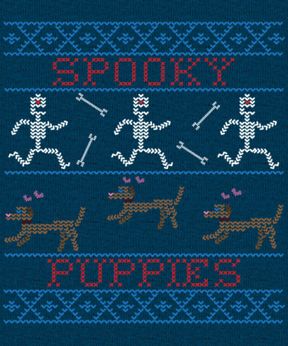 Ugly Sweater T-Shirt Design Maker Featuring Spooky Puppies 1851h