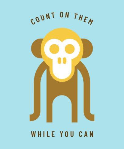 Environmental Awareness T-Shirt Design Template Featuring a Monkey Illustration 1562k 13-el