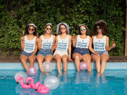 Mockup Featuring Five Friends with Customizable Tank Tops at a Pool Party 29687
