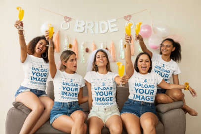 T-Shirt Mockup of a Group of Friends Cheering on a Bachelorette Party 29689