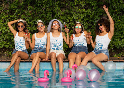 Tank Top Mockup of a Group of Friends at a Bachelorette Pool Party 29667